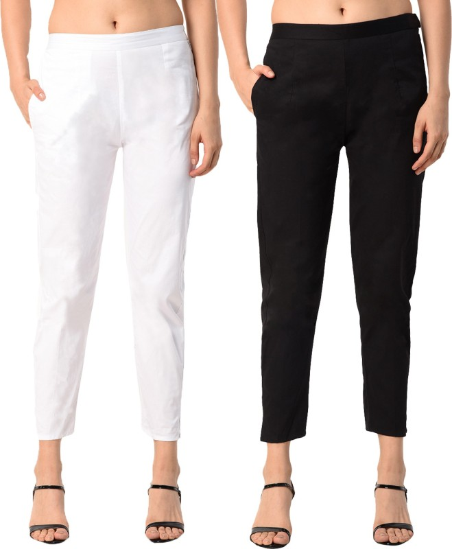 PAMO Regular Fit Women White, Black Trousers