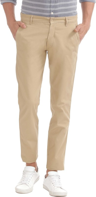 Izod Slim Fit Men Beige Trousers