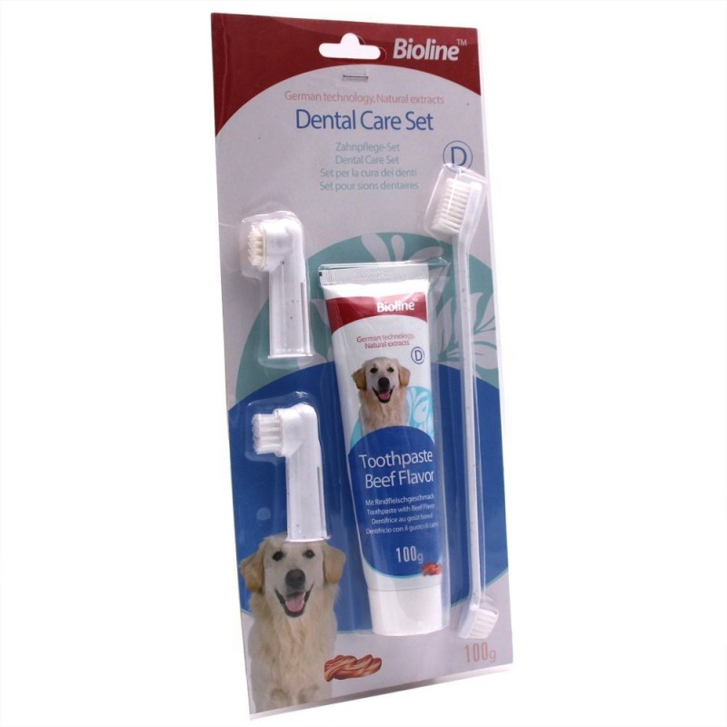 Bioline Dental Care Set Tooth Brush Tooth Paste Set Pet Toothpaste(Dog)