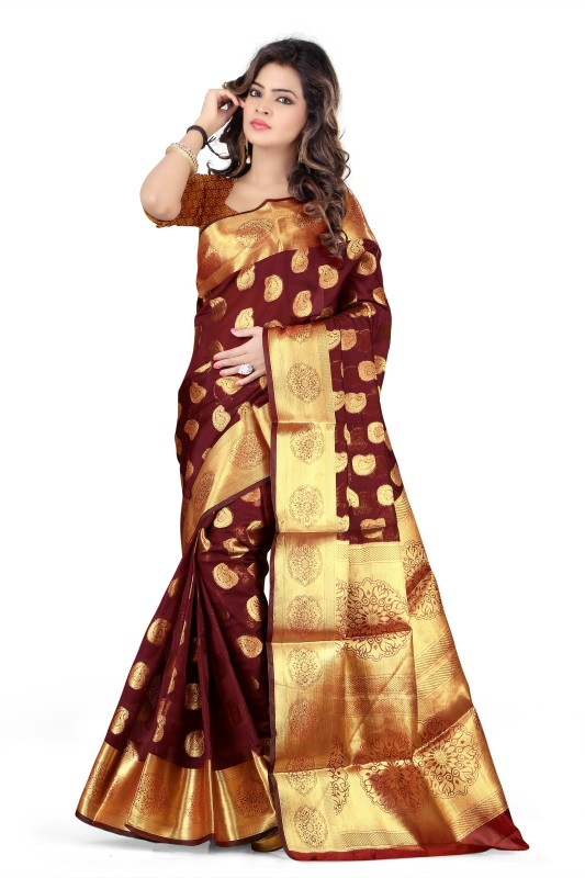 Jay Fashion Self Design Banarasi Silk, Art Silk Saree(Maroon, Gold)