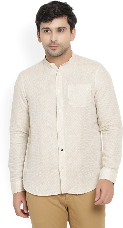 Blackberrys Men Self Design Casual Beige Shirt
