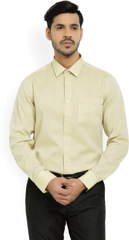 Blackberrys Men Solid Formal Yellow Shirt
