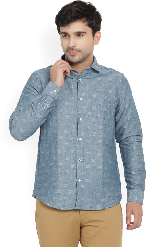 Blackberrys Men's Self Design Casual Blue Shirt