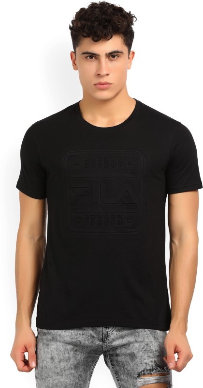 Fila Solid Men Round Neck Black T-Shirt