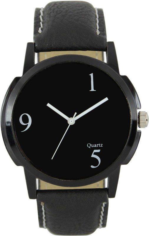 3King mens watch Black Dial Leather Analogue Watch - For Men