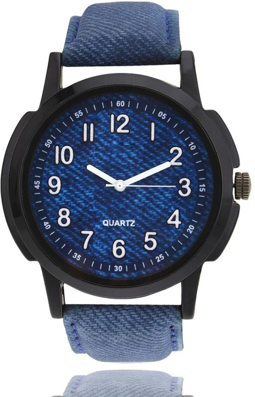 3King Blue Leather Strap Round Blue Dial analogue Watch - For Men