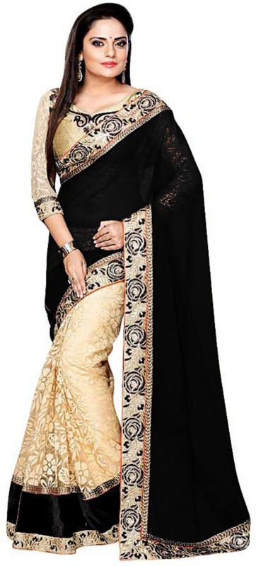 Shree Creation Embroidered Bollywood Georgette, Net Saree(Black)
