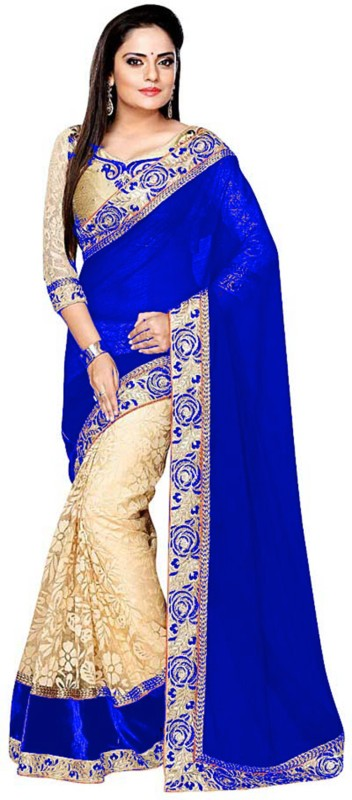 Shree Creation Embroidered Bollywood Georgette, Net Saree(Blue, Gold)