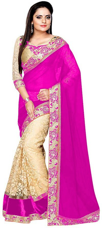 Shree Creation Embroidered Bollywood Georgette, Net Saree(Pink)