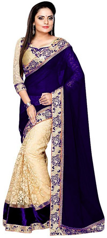 Shree Creation Embroidered Bollywood Georgette, Net Saree(Dark Blue)