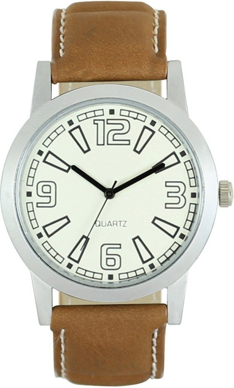 3King Brown Leather Strap Round White Dial analogue Watch - For Men