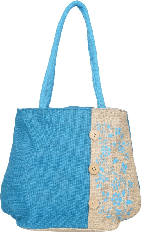 Empower Trust Tote Bag Wooden Button Multipurpose Bag(Blue, Beige, 10 L)