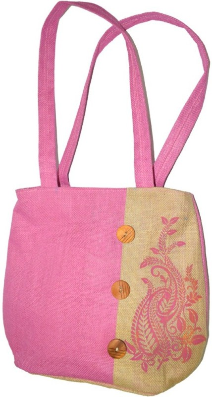 Empower Trust Tote Bag Wooden Button Multipurpose Bag(Pink, Beige, 10 L)