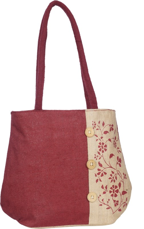 Empower Trust Tote Bag Wooden Button Multipurpose Bag(Maroon, Beige, 10 L)