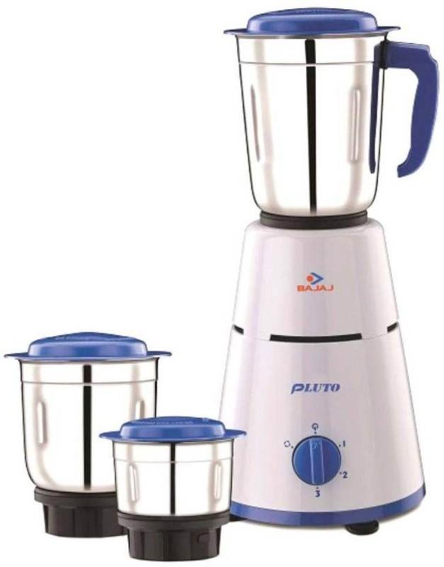 Bajaj Pluto 500 Mixer Grinder(Blue, 3 Jars)
