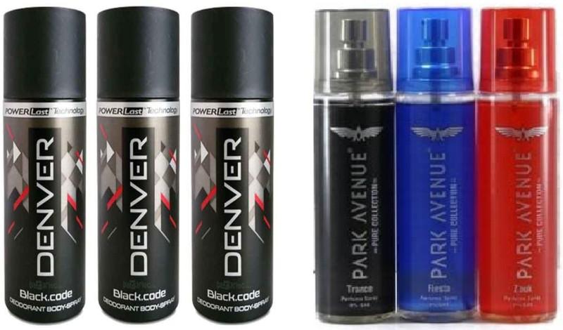 Park Avenue 1-1-1 PSC TRANCE , ZOUK , FIESTA & DENVER 3 PSC BLACK CODE Deodorant Spray - For Men(900 ml, Pack of 6)