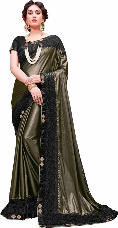 Gaurangi Creations Embroidered Bollywood Shimmer Fabric Saree(Dark Green)
