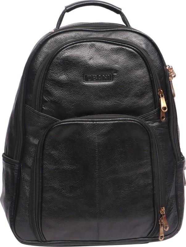 OBANI Leather Laptop Backpack 18 L Laptop Backpack(Black)