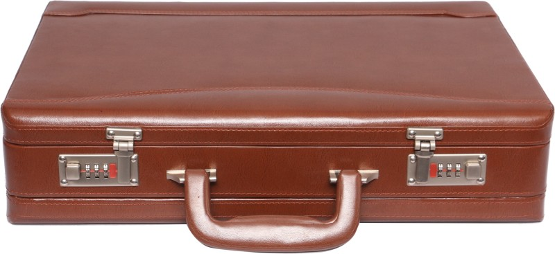 OBANI Faux Leather Expandable Briefcase Medium Briefcase - For Men(Tan)