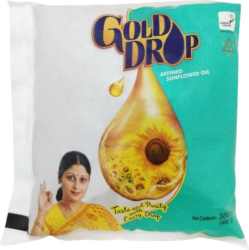 Gold Drop Refined Sunflower Oil Pouch(500 ml)