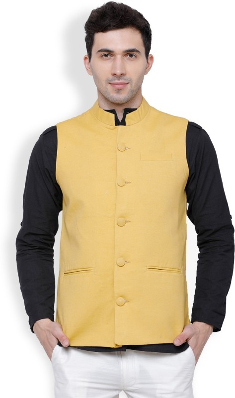 Svanik Sleeveless Solid Men Linen Jacket