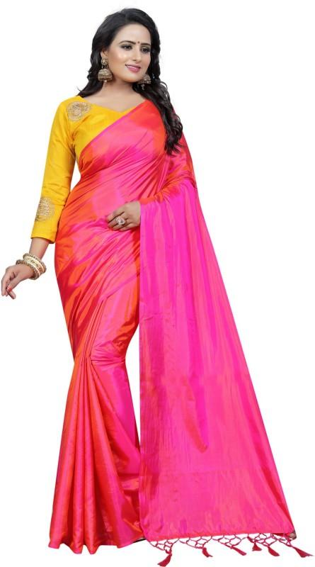 Villagius Plain Bollywood Silk Saree(Pink)