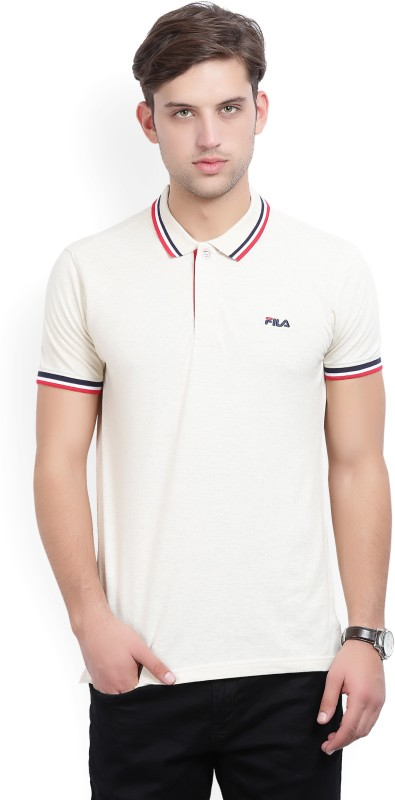 Fila Woven Mens Polo Neck Beige T-Shirt
