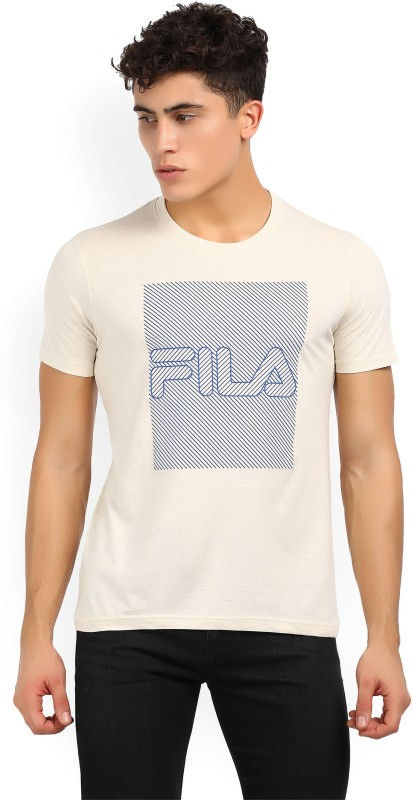 Fila Printed Mens Round Neck Beige T-Shirt