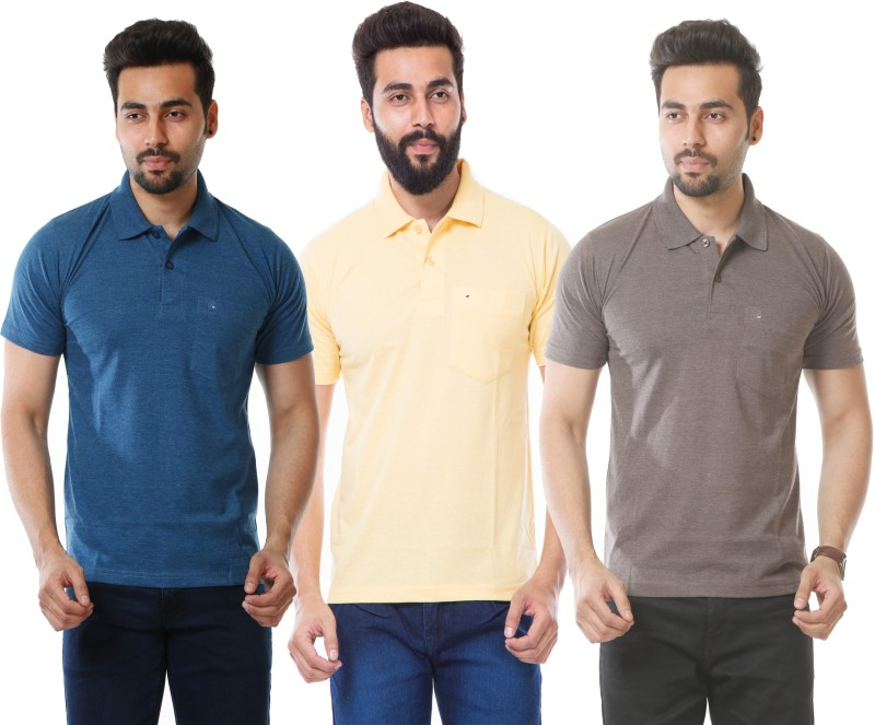 MOUDLIN Solid Men's Polo Neck Yellow, Blue, Brown T-Shirt(Pack of 3)