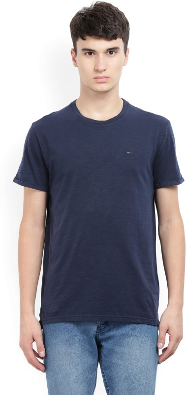 Tommy Hilfiger Self Design Mens Round Neck Blue T-Shirt