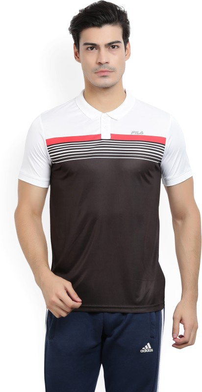 Fila Striped Men Polo Neck Black, White T-Shirt
