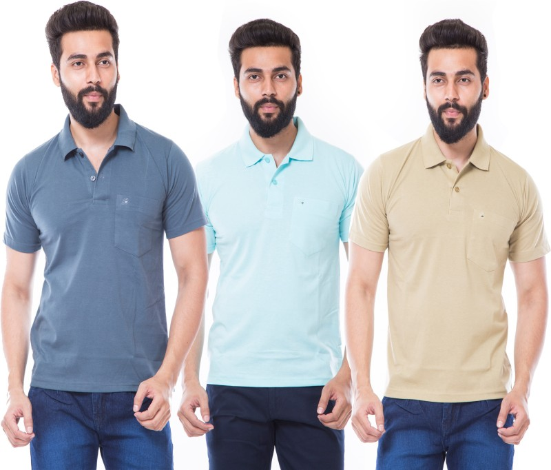 MOUDLIN Solid Men's Polo Neck Light Blue, Grey, Brown T-Shirt(Pack of 3)