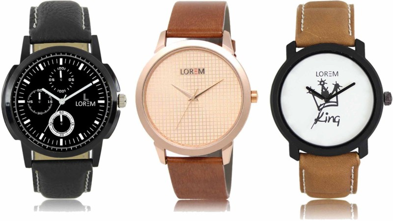 LOREM FZ 013_018_034 Men Watches Combo With Leather Belt Stylish Casual Look Analog Watch  - For Men