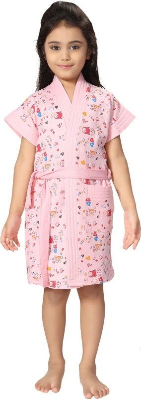 Be You Pink XXS Bath Robe(1 bathrobe with belt, For: Baby Girls, Pink)
