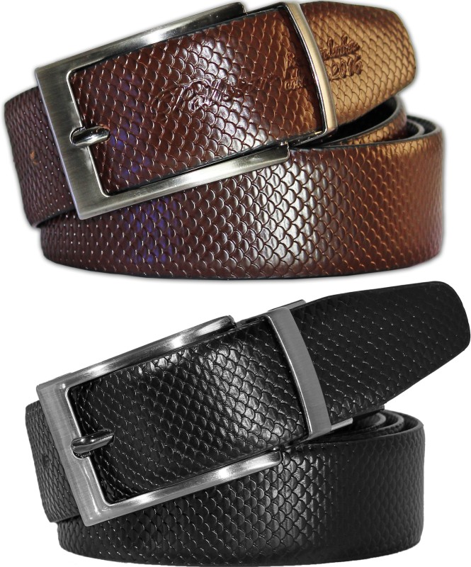 POLLSTAR Men Formal, Casual Black, Brown Genuine Leather Reversible Belt