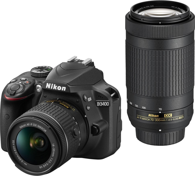 Nikon DSLR D3400 DSLR Camera Body with Dual Lens: AF-P DX NIKKOR 18-55 mm f/3.5 - 5.6G VR + AF-P DX NIKKOR 70-300 mm f/4.5 - 6.3G ED VR (16 GB SD Card +DSLR Camera Bag)(Black)