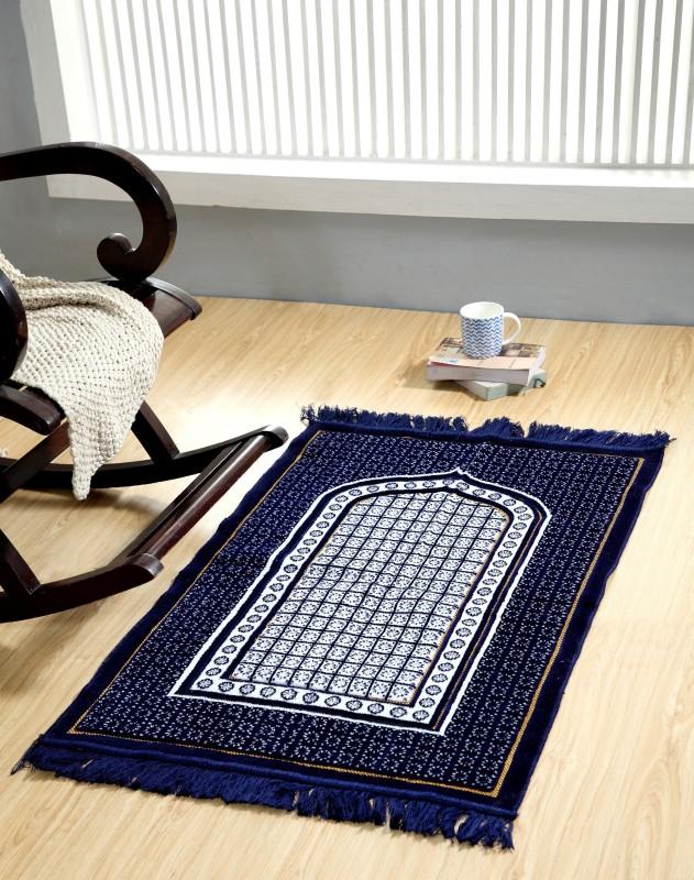 Welhous Velvet Prayer Mat(Blue, Medium)