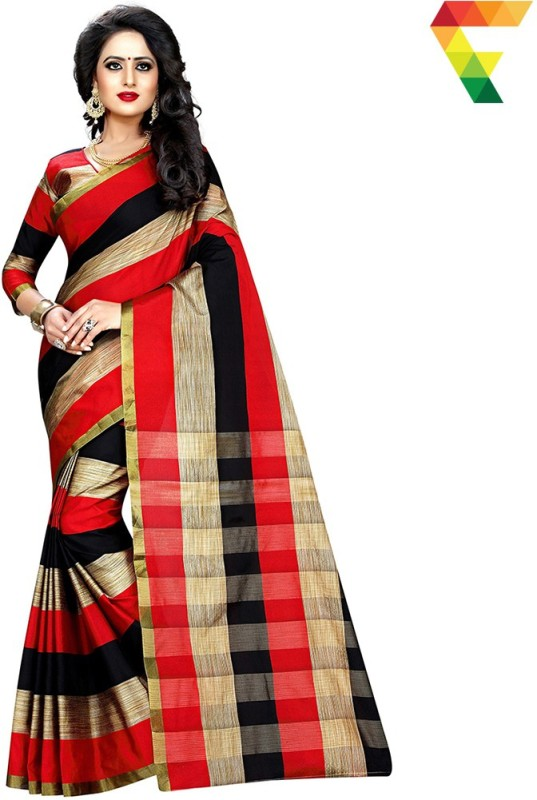 FabTag - Anugrah Floral Print Banarasi Cotton, Silk, Crepe Saree(Red, Black, Beige)