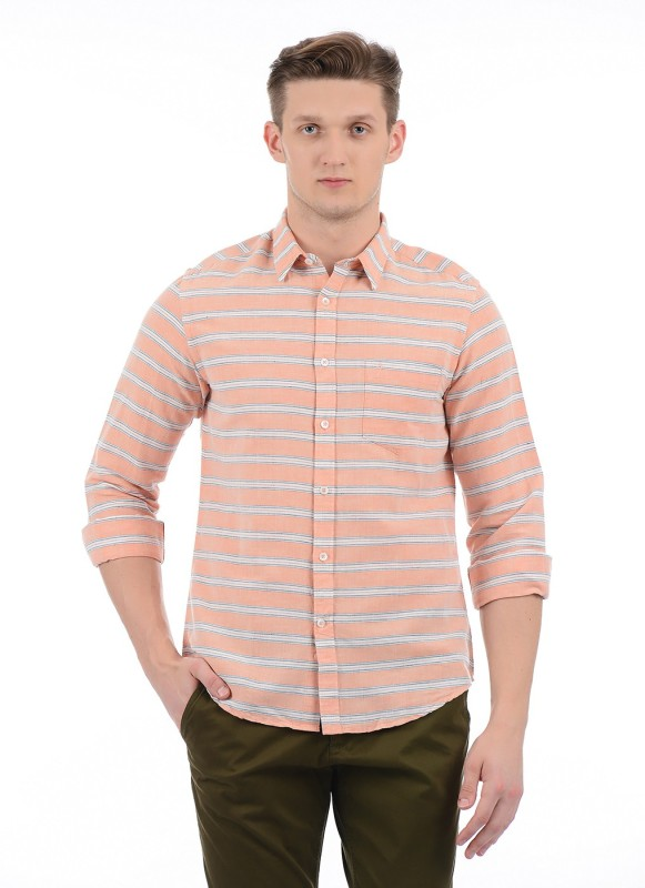 Indian Terrain Men Striped Casual Orange Shirt