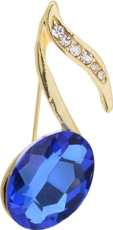 Aaishwarya Golden Toned Musical Note Crystal Brooch for Men/Boys & Women/Girls Brooch(Blue)
