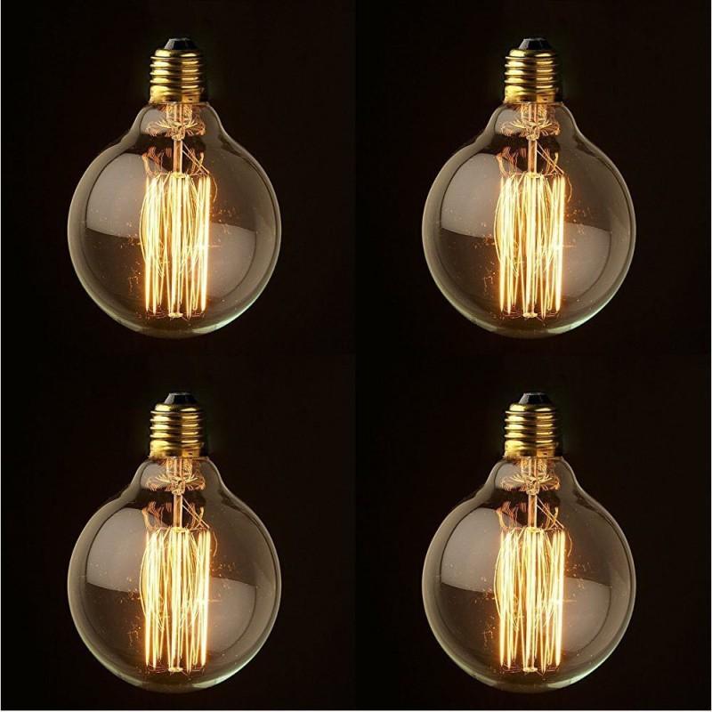 Weldecor 40 W Round E27 Decorative Bulb(Yellow, Pack of 4)