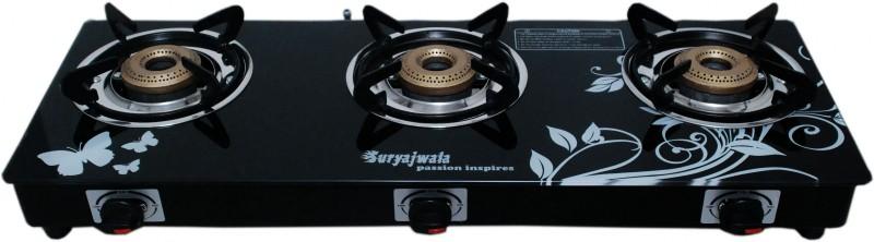 suryajwala sj3burner-CI-BLKD-AI-ROY Steel Automatic Gas Stove(3 Burners)