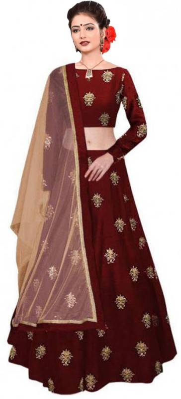 Julee Embroidered Semi Stitched Lehenga Choli(Maroon)