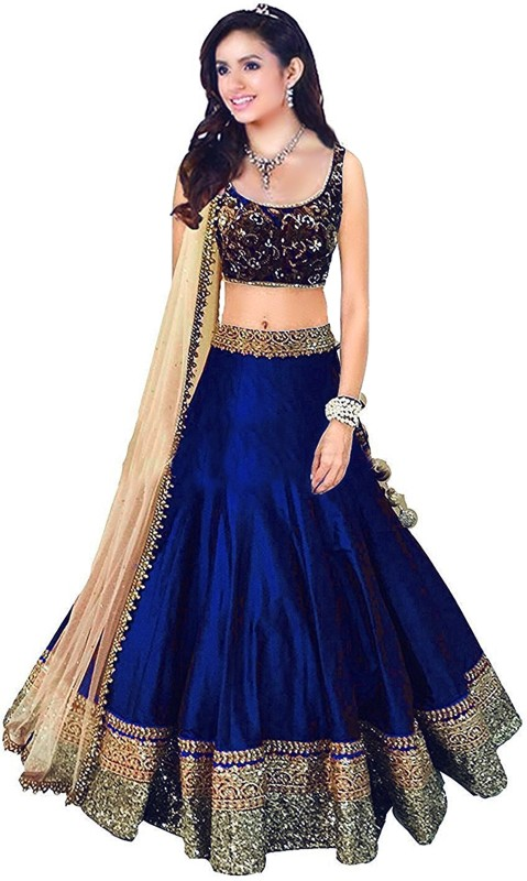 Nirvan fashion Embroidered Lehenga Choli(Blue)
