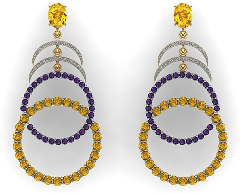 Vanna Jewels Party Wear Bridal Yellow Gold 18kt Diamond, Amethyst, Citrine Dangle Earring
