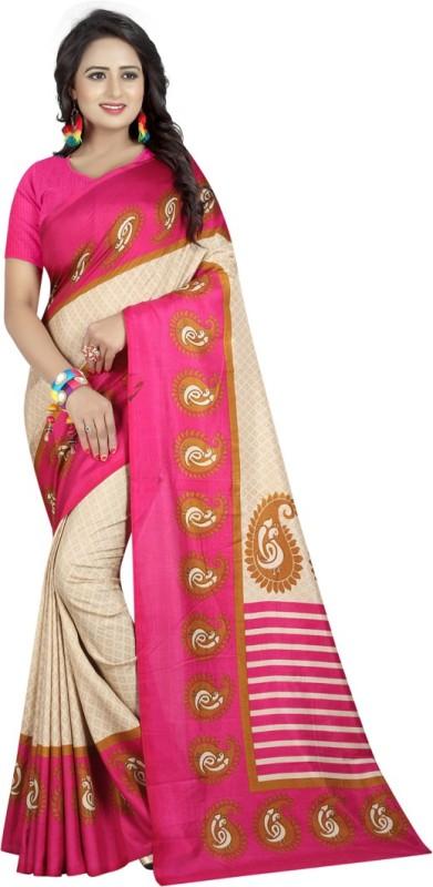 Active Printed Fashion Art Silk Saree(Beige)