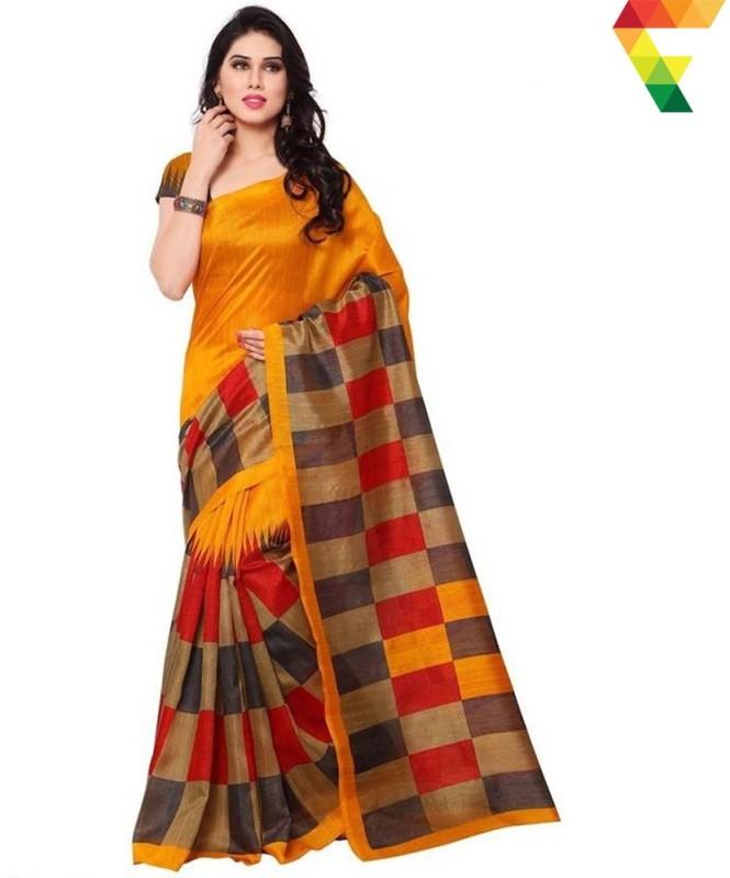 FabTag - Salwar Studio Printed Bollywood Art Silk Saree(Orange)