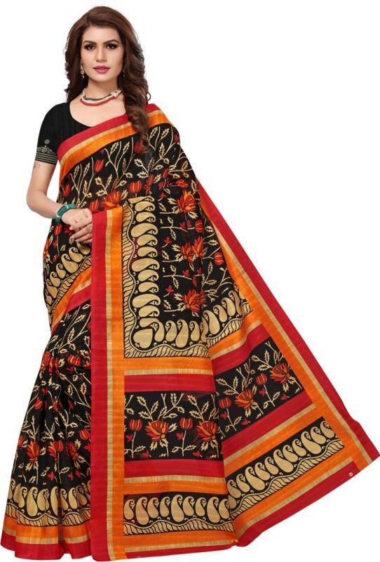 Active Printed Bhagalpuri Art Silk Saree(Black)