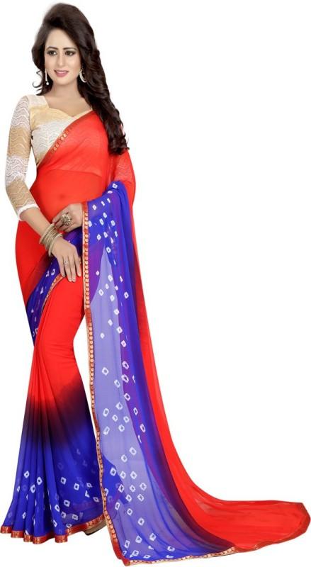 Active Printed Bandhani Chiffon Saree(Blue)