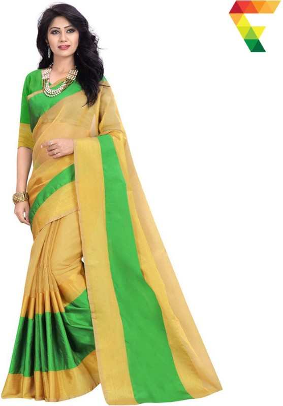 FabTag - BAPS Striped Banarasi Cotton, Silk Saree(Beige, Green)